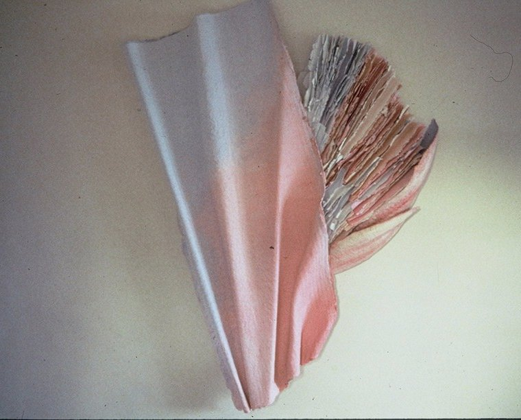 A pinkish/opalescent paper sculpture