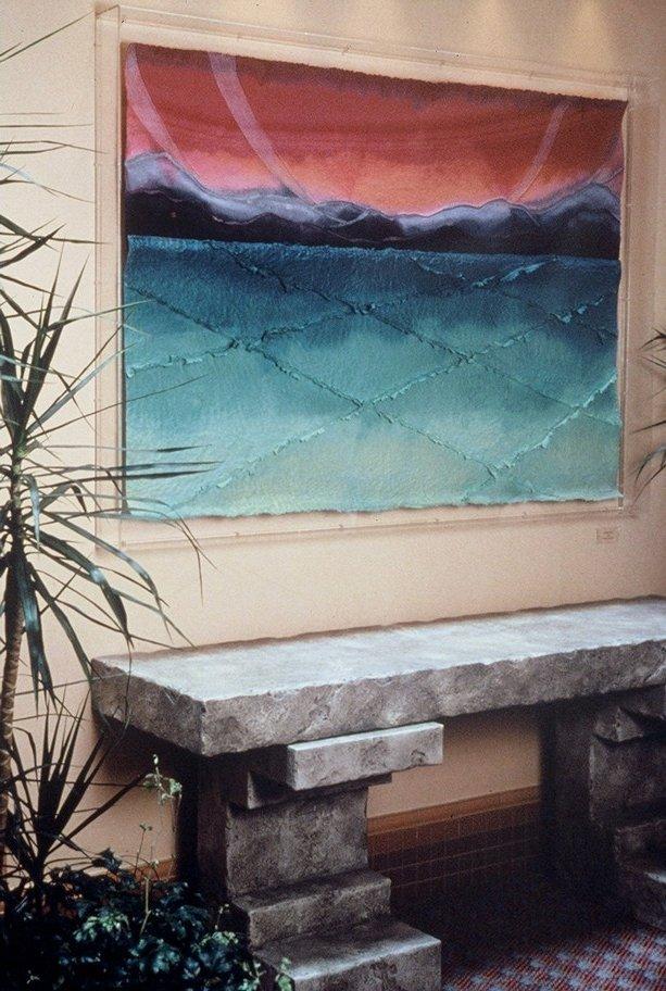 Landscape above marble sideboard